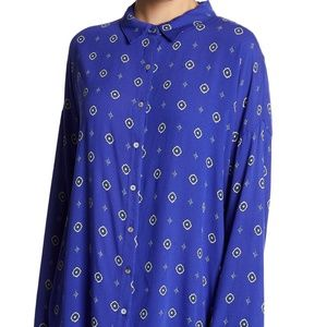 Free People Shirt Up Top Blue Combo Women's Size X